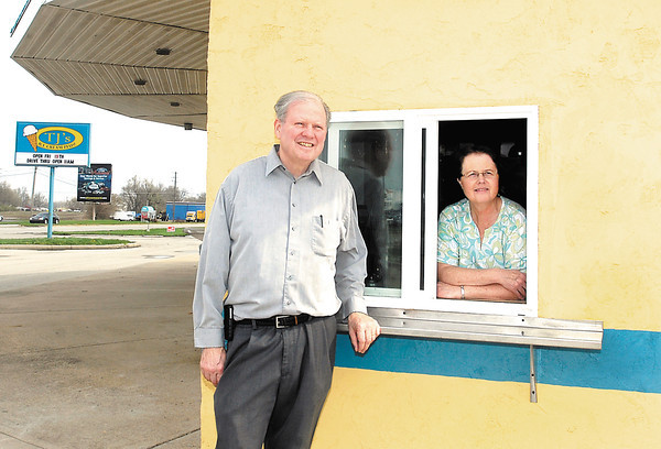 Jerry and Teresa Alexander stand at the new drive thru at their business TJ's Ice Cream Plus! at 2630 Broadway in Anderson.