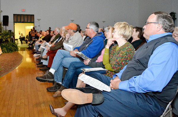 The first of three public meetings on the proposed Mounds Lake Reservoir was held at the Millcreek Civic Center in Chesterfield on Tuesday. photos by Stu