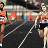 AU's Deborah Gardner, and Rachel Grubbs were neck & neck at the wire of their 200 meter dash heat race during the AU Invitational Track & Field meet Saturday.   Grubbs finished 2nd and Gardner finished 3rd overall in the event<br /> <br /> <br /> <br /> <br /> AU Invitational Track & Field meet