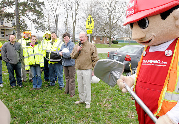 Don Henderson speaks before a ground breaking for a traffic circle to be installed at the intersection of Indiana 38 and County Road 300 West.