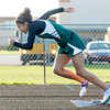 Pendleton Heights' Kiawna Cottrell competes in the 400 meter dash during the Arabians Girls Track Invitational on Thursday. Cottrell finished first with a meet record time of 60.12. To purchase this photo or other photos produced by The Herald Bulletin staff, visit heraldbulletin.smugmug.com.