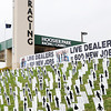 Hoosier Park Racing and Casino has a display of signs representing the 600 jobs that would be created if the legislature allowed the racino to have live table games.