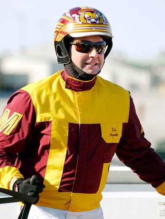 Ricky Macomber Jr. was all smiles after winning the opening race of the 2013 Hoosier Park live racing season Tuesday evening driving Mystic Karissa.