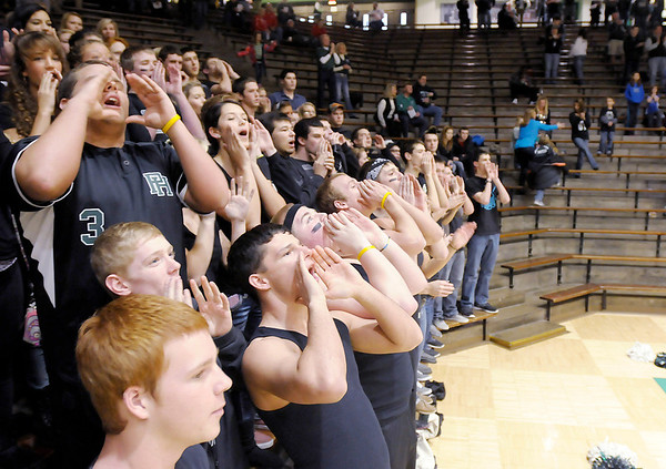 Pendleton Heights students cheer as their starters are introduced as the Arabians faced the Richmond Red Devils in the New Castle sectional semi-final on Friday.