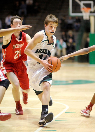 Pendleton Heights Levi Buck drives into the lane as the Arabians faced the Richmond Red Devils in the New Castle sectional semi-final on Friday.