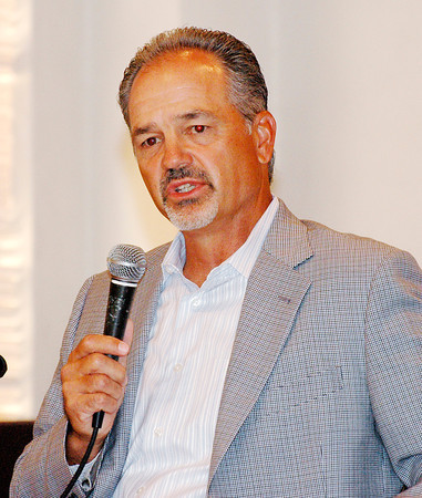 photo by Stu<br /> Colts coach Chuck Pagano speaks during a breakfast at the Paramount on Wednesday.