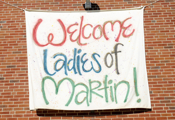 A sign welcomes students to Martin Hall during move in day at Anderson University on Thursday. Classes for the Fall semester start on Tuesday.