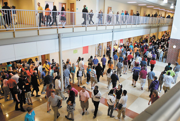 The halls were full again as classes started Monday at Anderson High School.