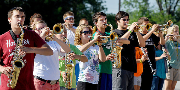 The Lapel HS band practices their routine for the State Fair  band contest.