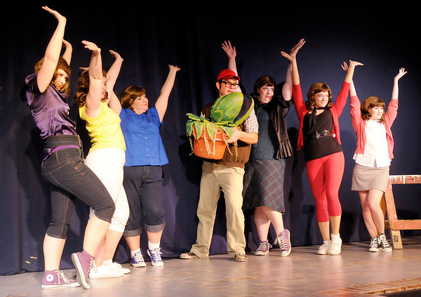 """The cast of Mainstage's production of the """"Little Shop of Horrors"""" performs a dress rehearsal on Monday. The show opens Thursday, look for a review and more photos in Thursday's edition of The Herald Bulletin."""