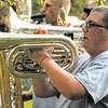 Zach Barnett performs with the Pendleton Heights Marching Arabian Band at Music in the Park.