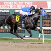 La Escondida ridden by jockey Eddie Zuniga wins the first race on Wednesday as the thoroughbred racing season opened at Hoosier Park.