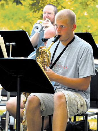 Cody Tucek performed at Music in the Park with the Director's Jazz Orchestra and the Pendleton Heights Marching Arabian Band.