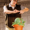 "Seymour (Tommy Thomas) feeds Audrey II his own blood during Mainstage's production of the ""Little Shop of Horrors."""