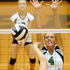 Pendleton Heights' Ashlyn Wendling tries to block a Lapel attack as the Arabians hosted the Bulldogs on Tuesday.