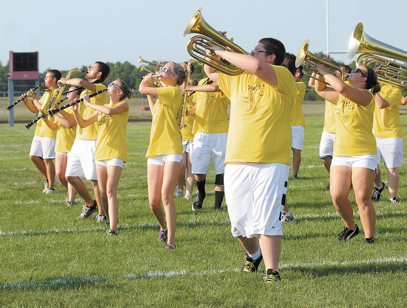 """The Frankton High School Marching Eagles practice their State Fair routine """"Invictus"""" on Thursday. The band will be competing today during State Fair Band Day."""