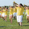 "The Frankton High School Marching Eagles practice their State Fair routine ""Invictus"" on Thursday. The band will be competing today during State Fair Band Day."