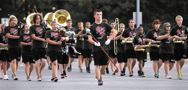"Anderson Marching Highlander's perform their show, ""Expdition Africa,"" for parents on Tuesday."
