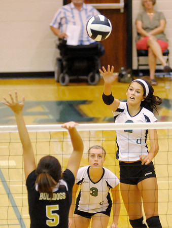 Pendleton Heights' Quincy Gary scores a kill against Lapel as the Arabians hosted the Bulldogs on Tuesday.