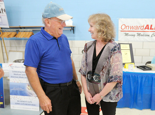 Don Knight/The Herald Bulletin<br /> State Superintendent of Public Instruction Glenda Ritz speaks with Jim Hensley during the UAW's open house on Saturday.