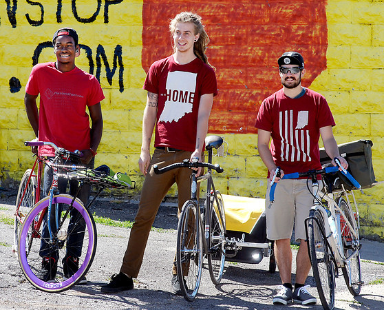 Tai Hoskins, Ben Orcutt, and Collin Rudkin makeup Jack Rabbit Couriers-Anderson's new, eco-friendly lunchtime delivery service.