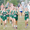 Don Knight/The Herald Bulletin<br /> Pendleton Heights runs in a pack during the Arabian Round-Up on Wednesday. Front row from left are, Alli McCarty (988), Maddi Hinton (985) and Monica Dudley (982). The Arabians won the team title.
