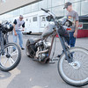 Don Knight/The Herald Bulletin<br /> From left, Jeff Perry and Gary Williams look at custom choppers as the Hot Bike Power Tour stopped in Anderson on Tuesday as part of a five day, five city, 900 mile tour.