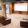 A movie room in the basement of the Tufts family home in Pendleton.