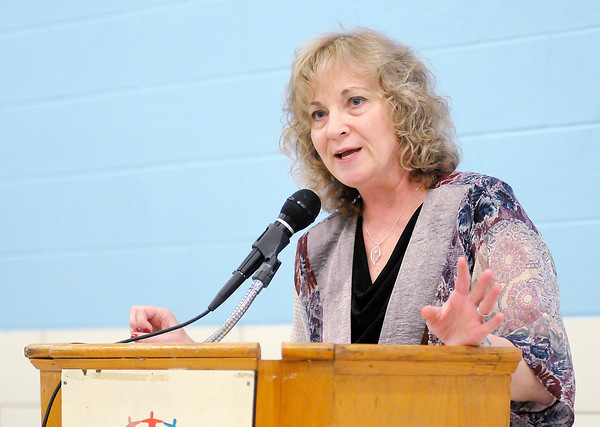 Don Knight/The Herald Bulletin<br /> State Superintendent of Public Instruction Glenda Ritz speaks during the UAW's open house on Saturday.