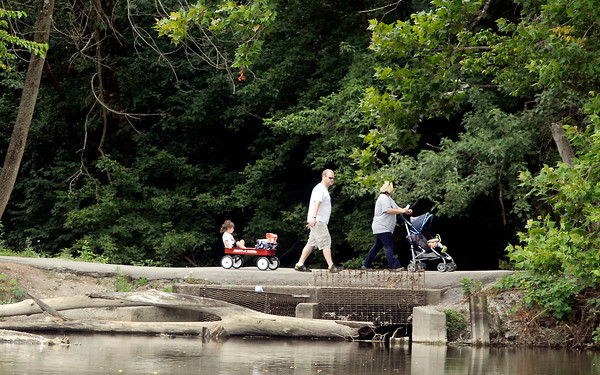 This family took advantage of the nice temperatures and gentle breezes for a stroll around Shadyside Lake Monday afternoon.