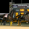 Don Knight | The Herald Bulletin<br /> Favorite Sweet Lou driven by Ron Pierce holds of a late charge by Ricky Macomber Jr and Bettor's Edge to win the Dan Patch at Hoosier Park on Friday.