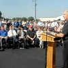 John P. Cleary | The Herald Bulletin<br /> Rick Manasek, president of Warner Bodies, addresses the more then 200 people that turned out for the company's grand opening celebration of their Elwood manufacturing facility.