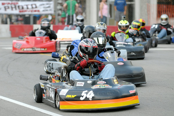 Don Knight | The Herald Bulletin<br /> Jeff Yeich leads early during the four cycle masters preliminary race at the Alexandria Grand Prix on Saturday. Yeich finished in 8th place. Drivers from the Southern Indiana Racing Association return to the streets of Alexandria for finals on Sunday starting at 1:15 p.m.