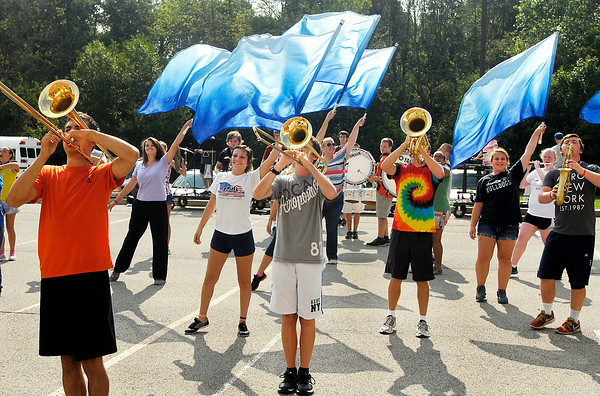 John P. Cleary   The Herald Bulletin<br /> The Lapel High School Marching Band practices their routine for the upcoming State Fair Marching Band contest Saturday.