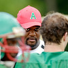John P. Cleary | The Herald Bulletin<br /> New Anderson High School football coach Robert Brown talks to his players during practice.