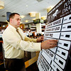 John P. Cleary | The Herald Bulletin<br /> Cliff Frazier puts up the names and their starting post during the Dan Patch Invitational post draw luncheon Tuesday.