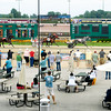 John P. Cleary | The Herald Bulletin<br /> Race fans line the fence to watch the finish of the third race on the card Saturday afternoon at Hoosier Park Racing & Casino.