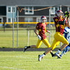 Don Knight | The Herald Bulletin<br /> Senior Jonah Jerrils pulls in a pass from Blaize Kelly for a touchdown as Alexandria-Monroe hosted Southern Wells for a scrimmage on Friday.
