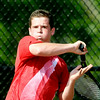 John P. Cleary | The Herald Bulletin<br /> Anderson High School's Joe Moran returns a forehand shot during his #1 singles match Monday against Josh Deutsch of Alexandria.<br /> To view or buy this photo and other Herald Bulletin photos, visit<br /> photos.heraldbulletin.com.