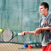 Don Knight | The Herald Bulletin<br /> Frankton's Conner Bates returns a volley to Anderson's Joe Moran as Anderson hosted Frankton during the Madison County Tennis Tournament on Wednesday. To view or buy this photo and other Herald Bulletin photos, visit<br /> photos.heraldbulletin.com.