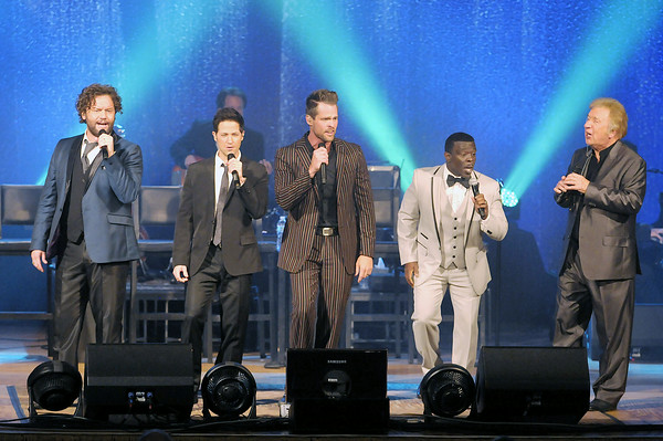Don Knight   The Herald Bulletin<br /> The Gaither Vocal Band performs a benefit concert at the Paramount Theatre on Thursday as part of the Paramount's 85th anniversary celebration. The concert nearly sold out the theatre and raised over $125,000. From left are David Phelps, Wes Hampton, Adam Crabb, Todd Suttles, and Bill Gaither.