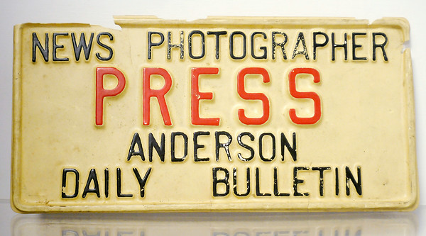 Don Knight | The Herald Bulletin<br /> An Anderson Daily Bulletin press credential is part of the Madison County Historical Society's camera exhibit.