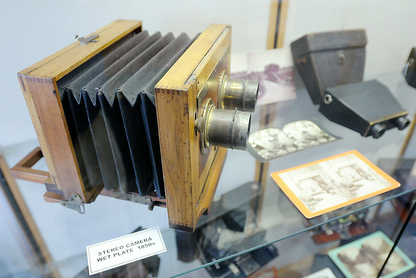 Don Knight | The Herald Bulletin<br /> A wet plate stereo camera is part of the camera exhibit at the Madison County Historical Society. Stereo cameras take two photographs that after developed can be viewed in 3D.