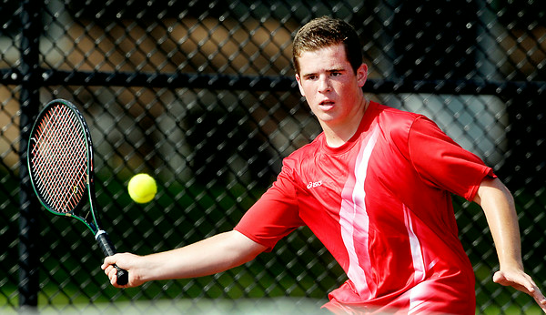 John P. Cleary   The Herald Bulletin<br /> Anderson High School's Joe Moran returns a forehand shot during his #1 singles match Monday against Josh Deutsch of Alexandria.<br /> To view or buy this photo and other Herald Bulletin photos, visit<br /> photos.heraldbulletin.com.