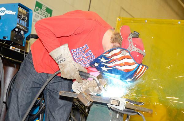Stu Hirsch   The Herald Bulletin<br /> Grant Ebbert, 17, practices welding at the Hinds Career Center.