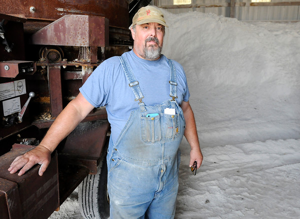 Don Knight | The Herald Bulletin<br /> Randy Scott was looking for a cheaper way to dispose of gypsum wallboard when he discovered it could be recycled and the gypsum used to improve fields for corn production.