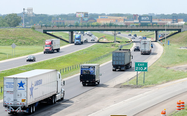 Don Knight   The Herald Bulletin<br /> The interchange at exit 210 will be converted into a double crossover diamond as part of the I-69 Major Moves 2020 construction project. The work is being done at night to minimize traffic congestion.