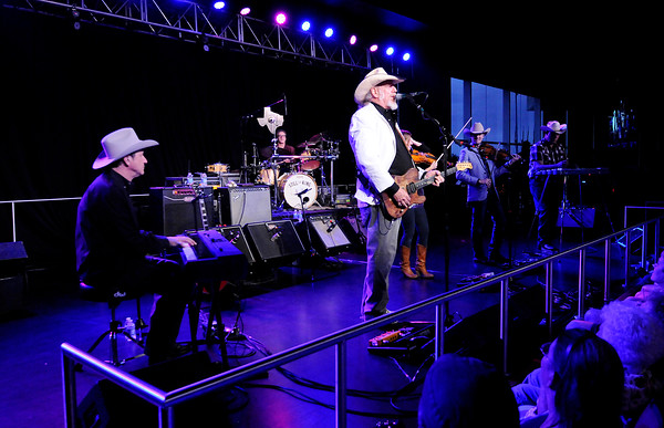Don Knight   The Herald Bulletin<br /> Asleep at the Wheel performs a free concert at Hoosier Park on Saturday as part of the Dan Patch Festival Weekend. The concert was moved inside due to rain.