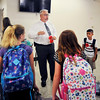 John P. Cleary | The Herald Bulletin<br /> First year principal David Suchocki greets students at 10th Street Elementary School on the first day of classes for ACS.