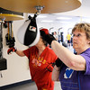 Don Knight | The Herald Bulletin<br /> Kay Shively punches a speed bag during a Rock Steady Boxing workout on Friday. Community Hospital Anderson launched a Rock Steady program for Parkinson's patients.